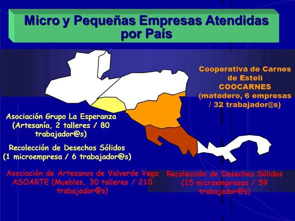 Micro y Pequeñas Empresas Atendidas por País Asociación Grupo La Esperanza (Artesanía, 2 talleres / 80 trabajador@s) Cooperativa de Carnes de Estelí C