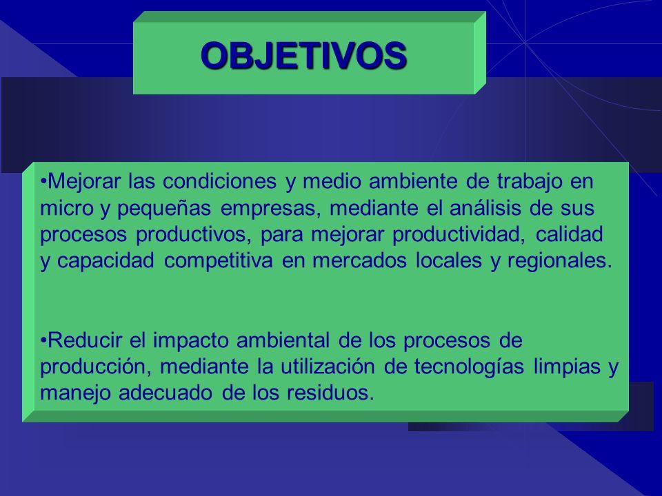 Mejorar las condiciones y medio ambiente de trabajo en micro y pequeñas empresas, mediante el análisis de sus procesos productivos, para mejorar produ