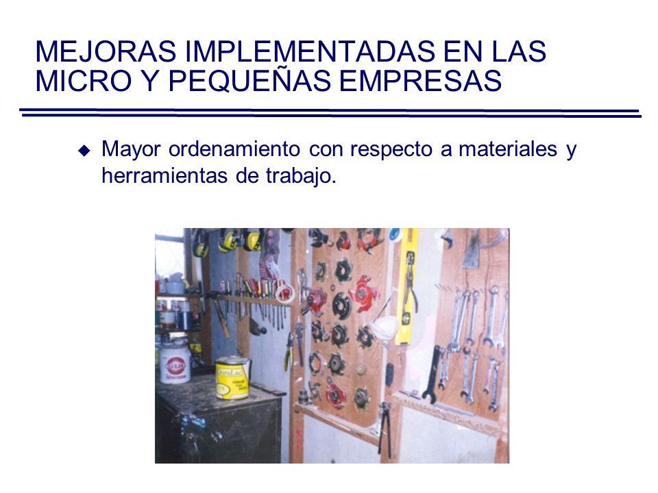 MEJORAS IMPLEMENTADAS EN LAS MICRO Y PEQUEÑAS EMPRESAS Limpieza frecuente de los puestos de trabajo y uso de equipos de protección personal.