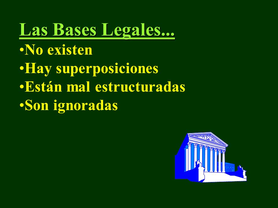 Las Bases Legales... No existen Hay superposiciones Están mal estructuradas Son ignoradas