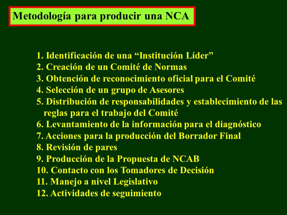 Metodología para producir una NCA 1. Identificación de una Institución Líder 2.