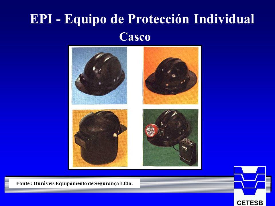 EPI - Equipo de Protección Individual Casco Fonte : Duráveis Equipamento de Segurança Ltda.