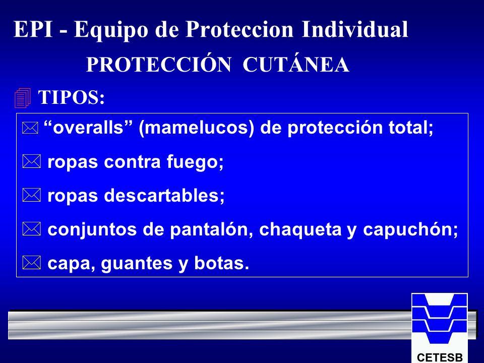 EPI - Equipo de Proteccion Individual 4 TIPOS: overalls (mamelucos) de protección total; * ropas contra fuego; * ropas descartables; * conjuntos de pa