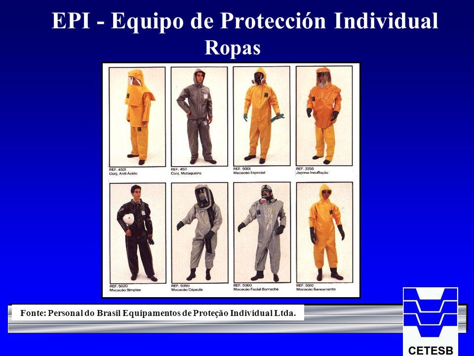 EPI - Equipo de Protección Individual Ropas Fonte: Personal do Brasil Equipamentos de Proteção Individual Ltda.