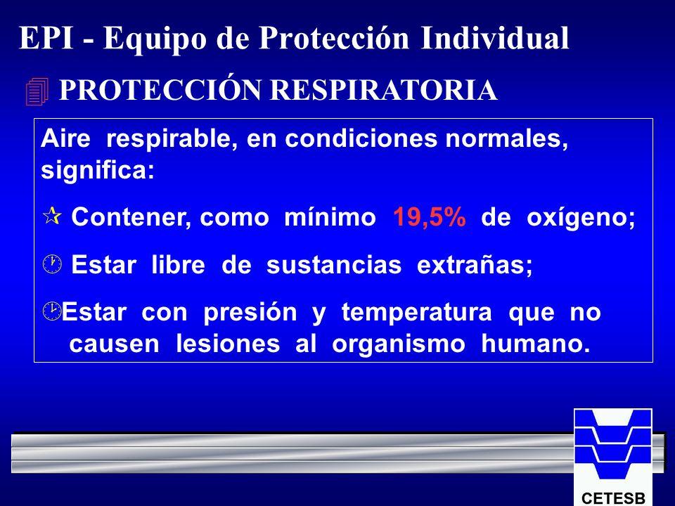EPI - Equipo de Protección Individual 4 PROTECCIÓN RESPIRATORIA Aire respirable, en condiciones normales, significa: ¶ Contener, como mínimo 19,5% de