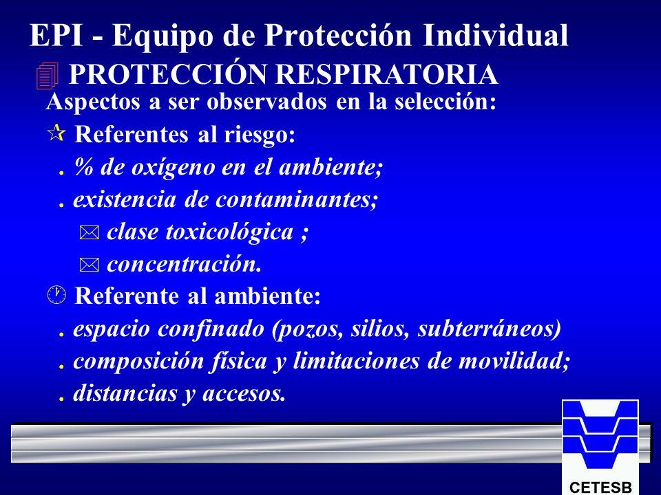 EPI - Equipo de Protección Individual 4 PROTECCIÓN RESPIRATORIA Aspectos a ser observados en la selección: ¶ Referentes al riesgo:. % de oxígeno en el