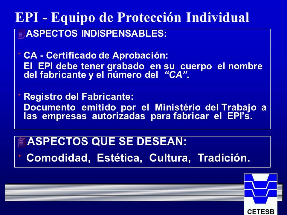 EPI - Equipo de Protección Individual 4ASPECTOS INDISPENSABLES: · CA - Certificado de Aprobación: El EPI debe tener grabado en su cuerpo el nombre del