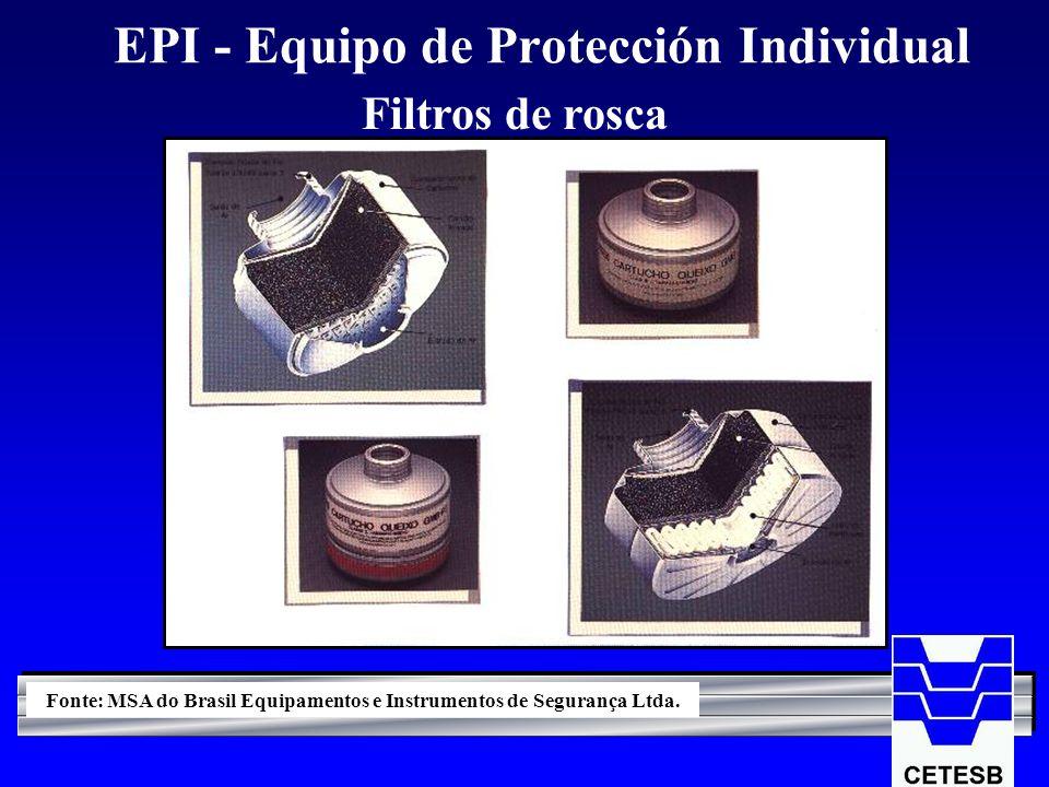 EPI - Equipo de Protección Individual Filtros de rosca Fonte: MSA do Brasil Equipamentos e Instrumentos de Segurança Ltda.
