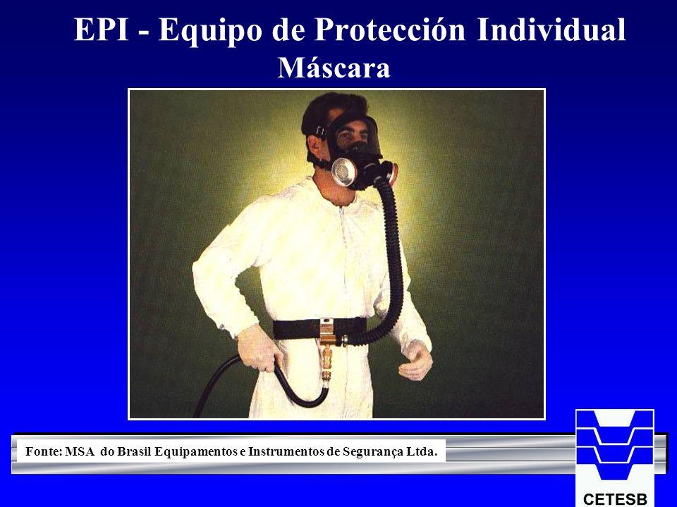 EPI - Equipo de Protección Individual Máscara Fonte: MSA do Brasil Equipamentos e Instrumentos de Segurança Ltda.