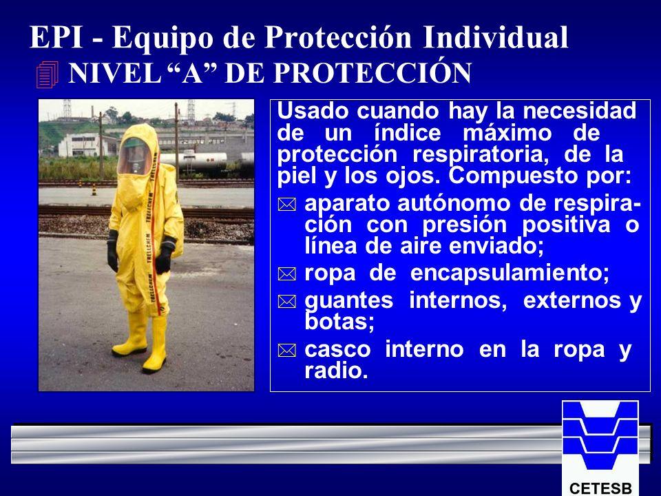 EPI - Equipo de Protección Individual 4 NIVEL A DE PROTECCIÓN Usado cuando hay la necesidad de un índice máximo de protección respiratoria, de la piel