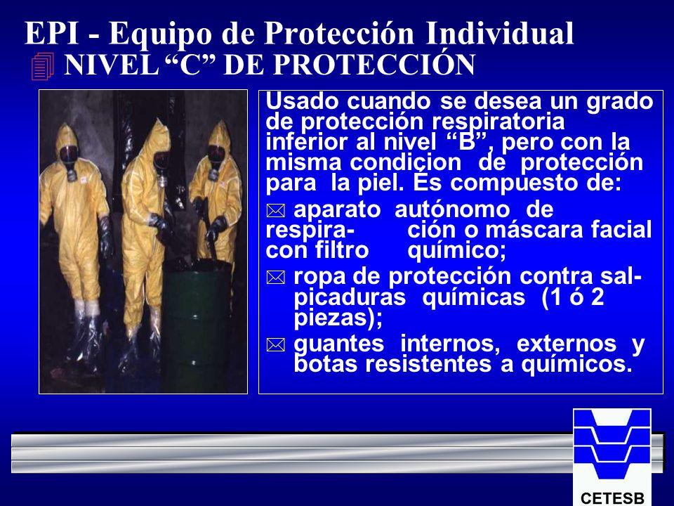 EPI - Equipo de Protección Individual 4 NIVEL C DE PROTECCIÓN Usado cuando se desea un grado de protección respiratoria inferior al nivel B, pero con