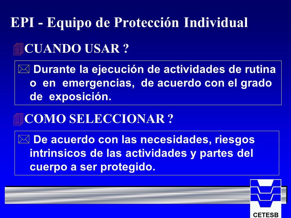 EPI - Equipo de Protección Individual 4CUANDO USAR ? * Durante la ejecución de actividades de rutina o en emergencias, de acuerdo con el grado de expo