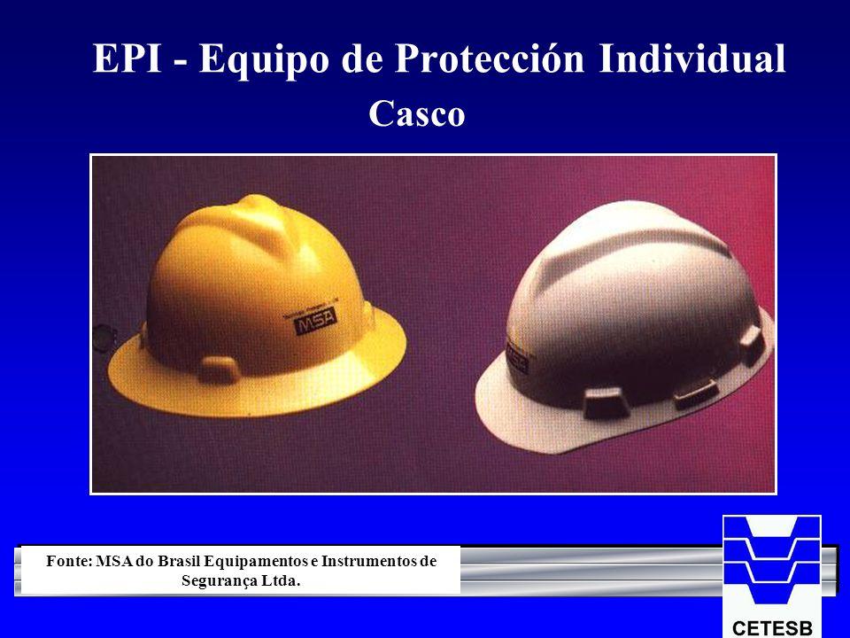 EPI - Equipo de Protección Individual Casco Fonte: MSA do Brasil Equipamentos e Instrumentos de Segurança Ltda.