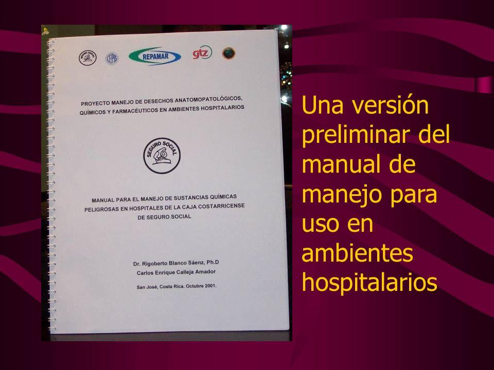 Una versión preliminar del manual de manejo para uso en ambientes hospitalarios