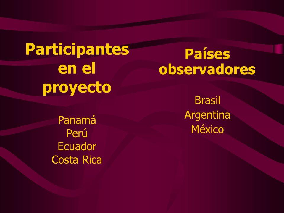 Participantes en el proyecto Panamá Perú Ecuador Costa Rica Países observadores Brasil Argentina México