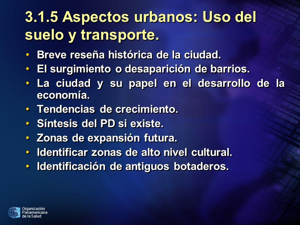 Organización Panamericana de la Salud 3.1.5 Aspectos urbanos: Uso del suelo y transporte. Breve reseña histórica de la ciudad. El surgimiento o desapa
