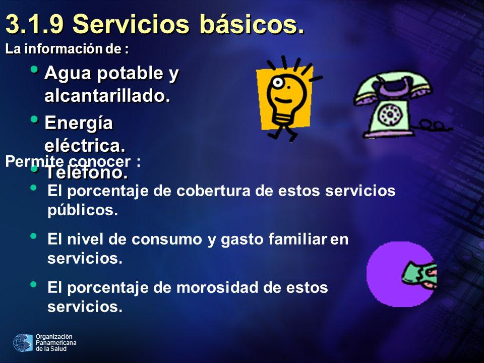 Organización Panamericana de la Salud 3.1.9 Servicios básicos. La información de : Agua potable y alcantarillado. Energía eléctrica. Teléfono. La info
