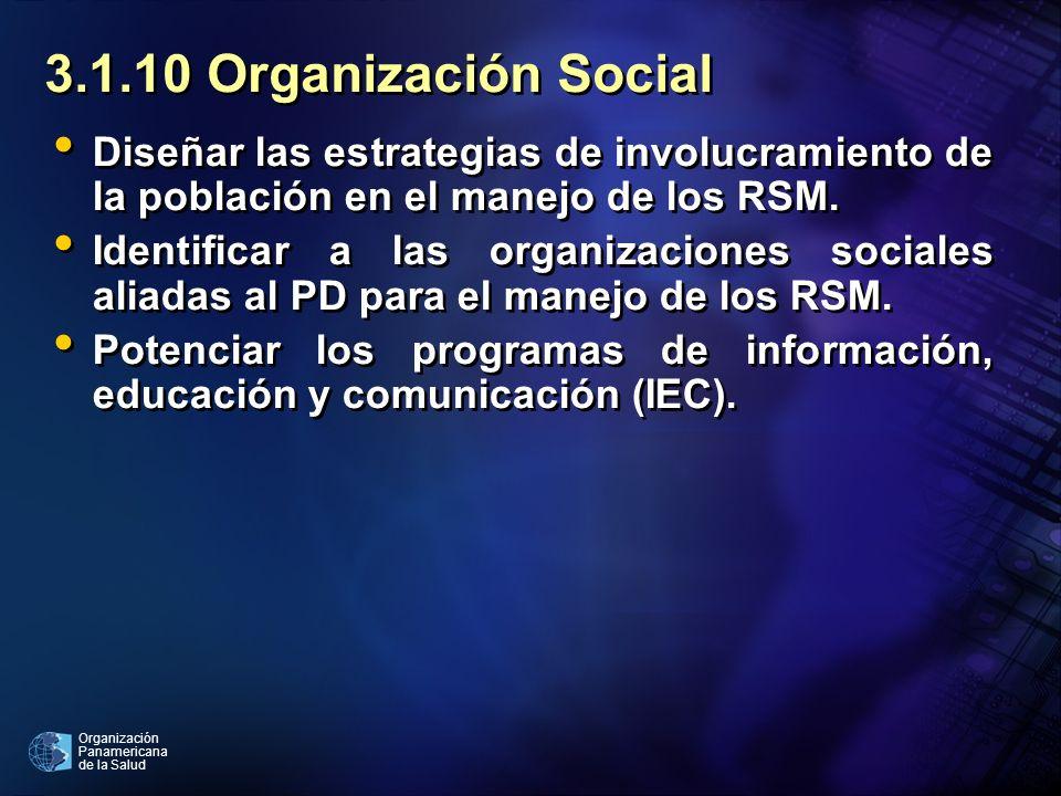 Organización Panamericana de la Salud 3.1.10 Organización Social Diseñar las estrategias de involucramiento de la población en el manejo de los RSM. I