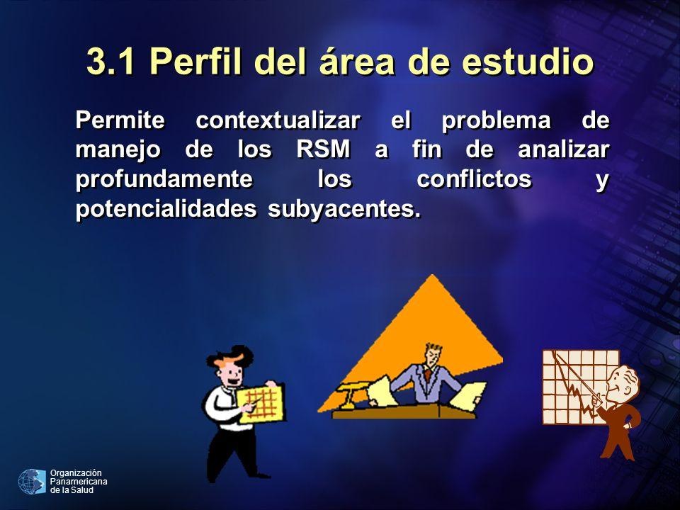 Organización Panamericana de la Salud 3.1 Perfil del área de estudio Permite contextualizar el problema de manejo de los RSM a fin de analizar profund