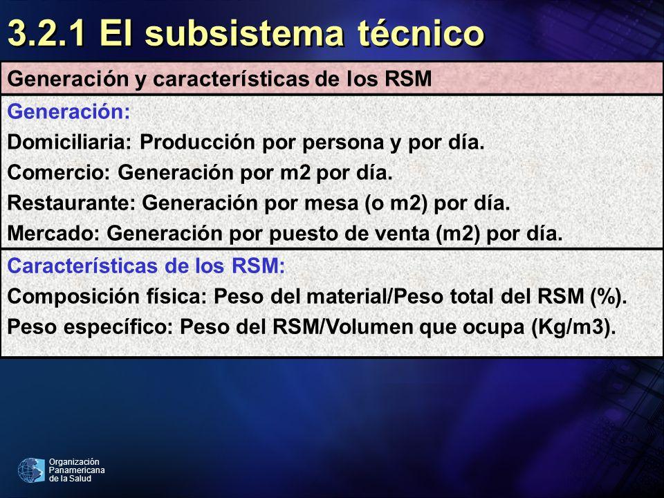 Organización Panamericana de la Salud 3.2.1 El subsistema técnico Generación y características de los RSM Generación: Domiciliaria: Producción por per