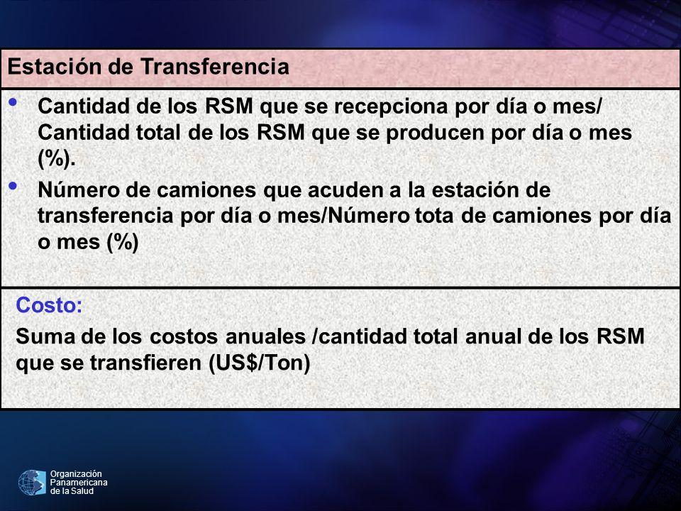Organización Panamericana de la Salud Estación de Transferencia Cantidad de los RSM que se recepciona por día o mes/ Cantidad total de los RSM que se