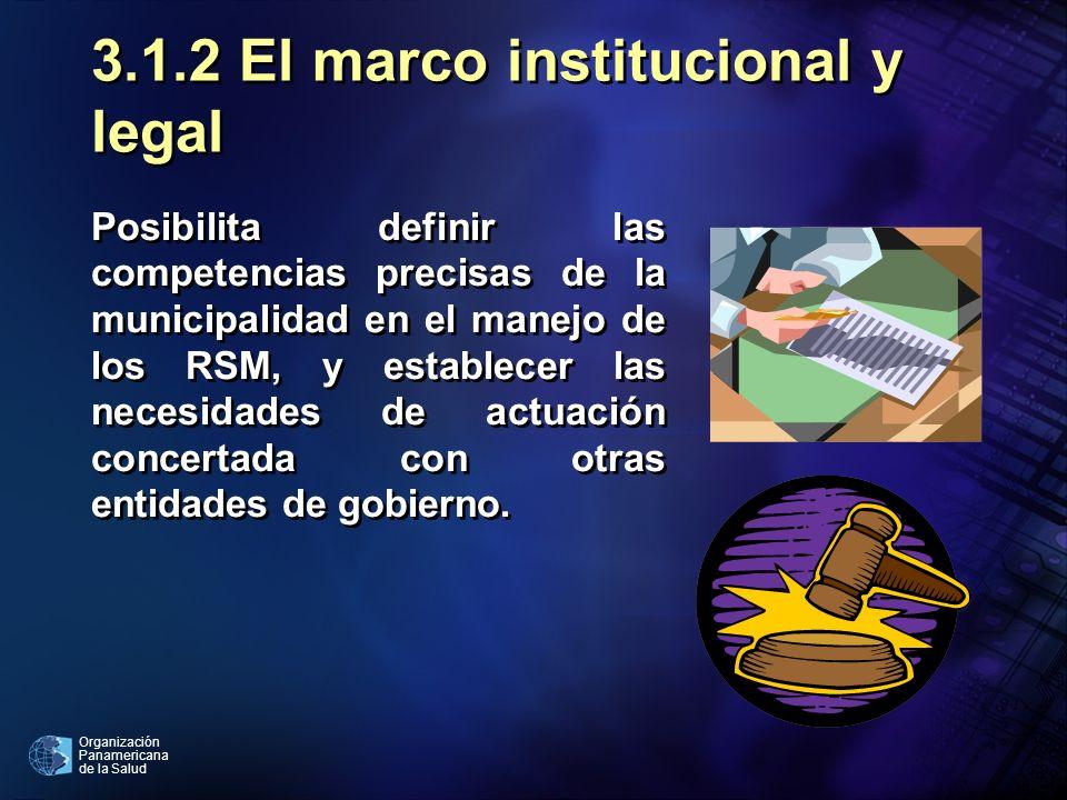 Organización Panamericana de la Salud 3.1.2 El marco institucional y legal Posibilita definir las competencias precisas de la municipalidad en el mane