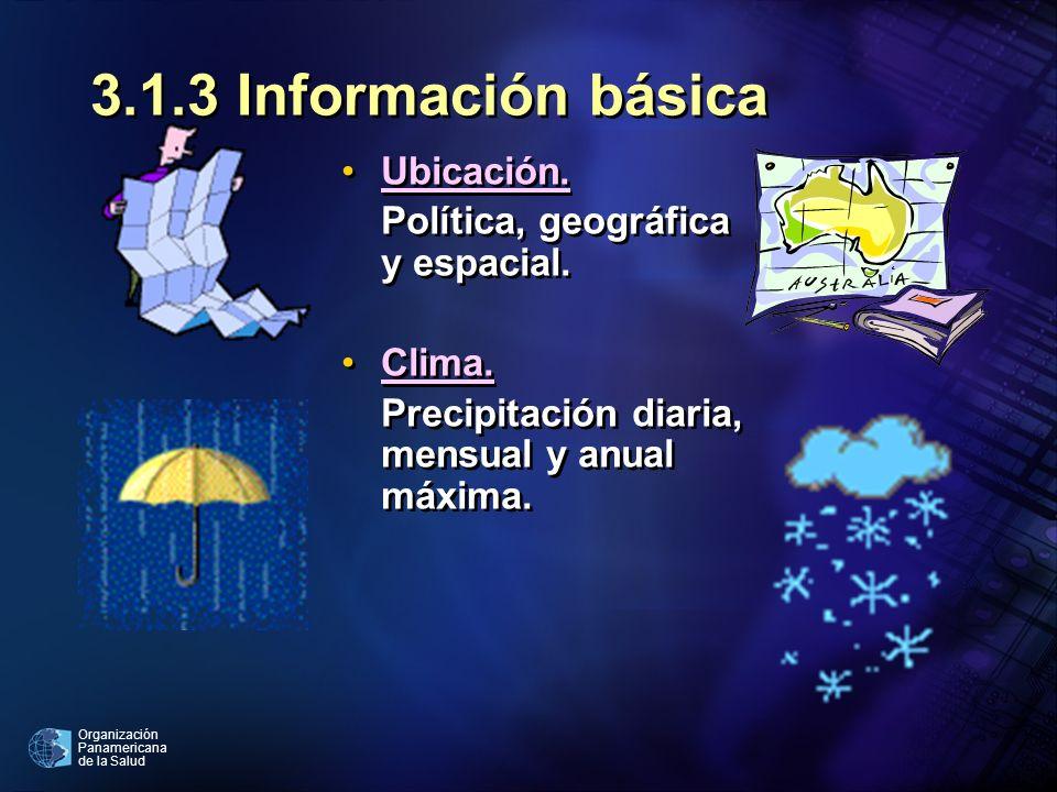 Organización Panamericana de la Salud 3.1.3 Información básica Ubicación. Política, geográfica y espacial. Clima. Precipitación diaria, mensual y anua