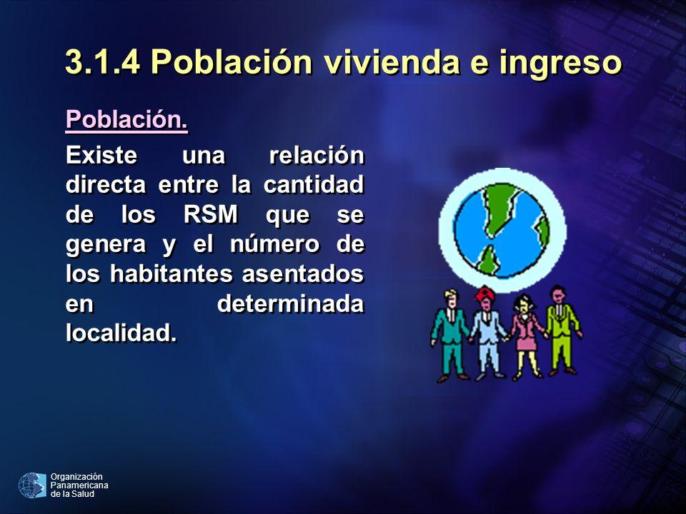 Organización Panamericana de la Salud 3.1.4 Población vivienda e ingreso Población. Existe una relación directa entre la cantidad de los RSM que se ge