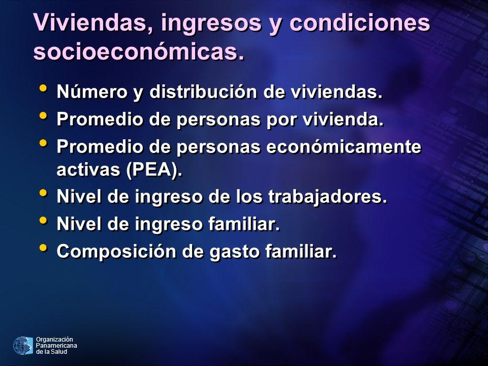 Organización Panamericana de la Salud Viviendas, ingresos y condiciones socioeconómicas. Número y distribución de viviendas. Promedio de personas por