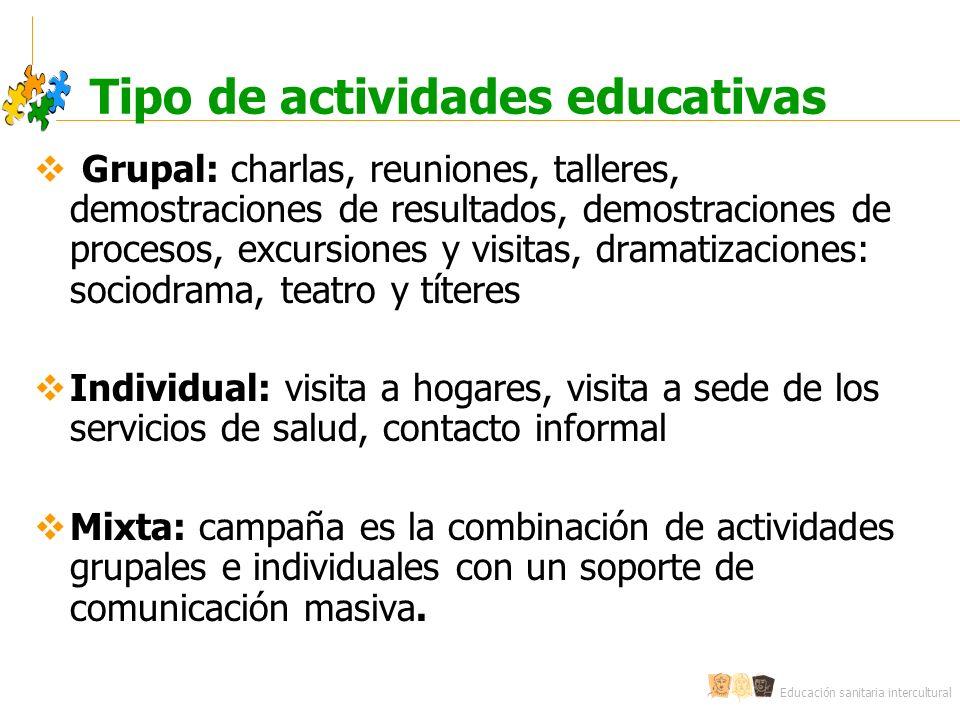 Educación sanitaria intercultural Tipo de actividades educativas Grupal: charlas, reuniones, talleres, demostraciones de resultados, demostraciones de