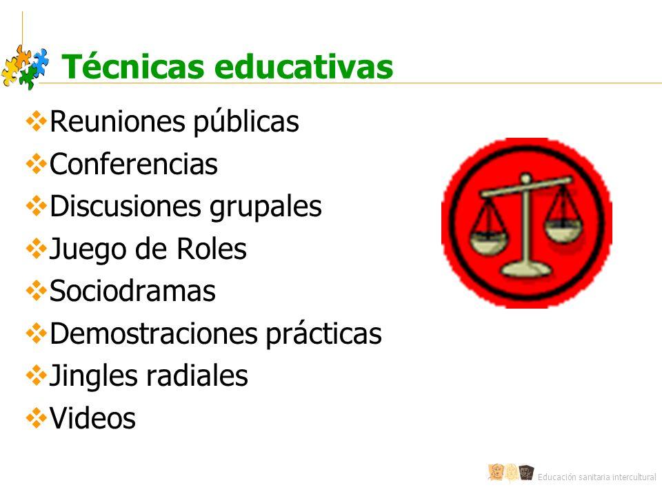 Educación sanitaria intercultural Técnicas educativas Reuniones públicas Conferencias Discusiones grupales Juego de Roles Sociodramas Demostraciones prácticas Jingles radiales Videos