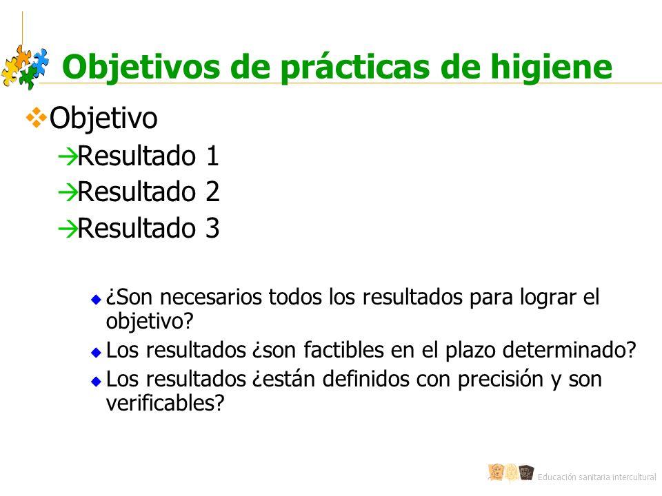 Educación sanitaria intercultural Objetivos de prácticas de higiene Objetivo Resultado 1 Resultado 2 Resultado 3 ¿Son necesarios todos los resultados
