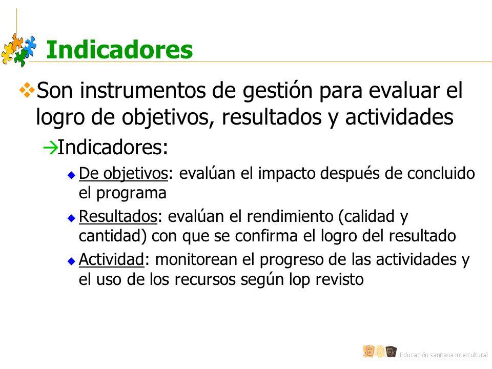 Educación sanitaria intercultural Indicadores Son instrumentos de gestión para evaluar el logro de objetivos, resultados y actividades Indicadores: De