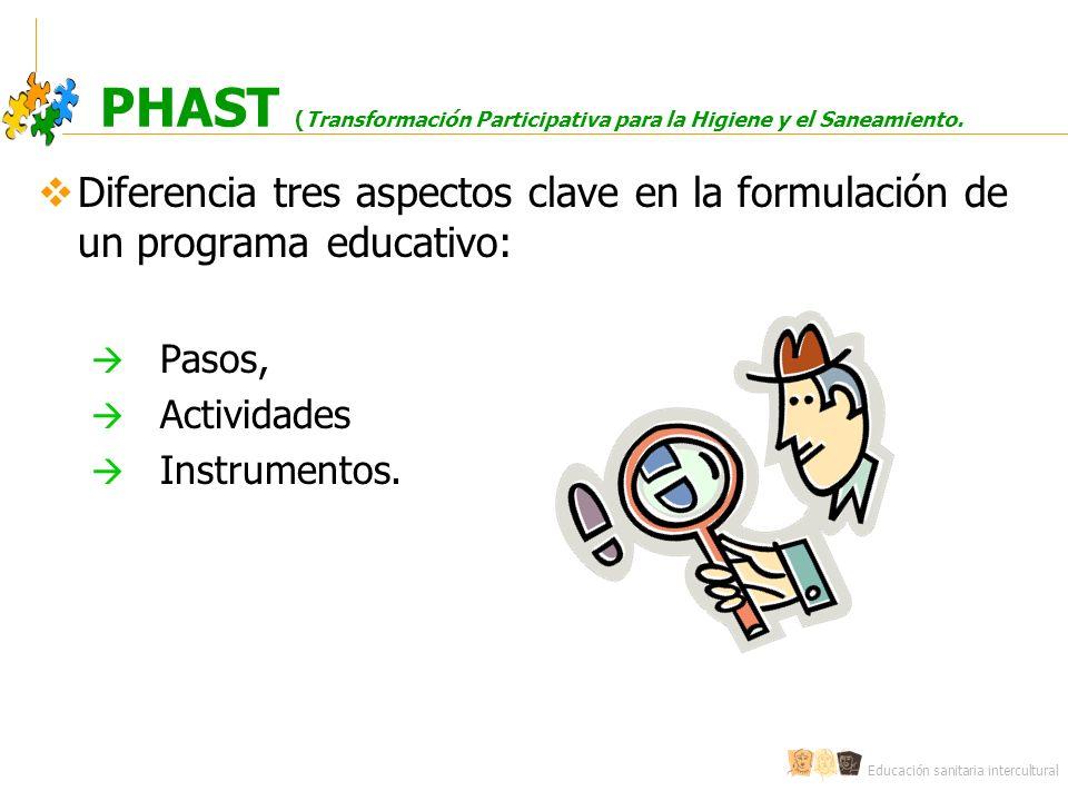 Educación sanitaria intercultural PHAST (Transformación Participativa para la Higiene y el Saneamiento. Diferencia tres aspectos clave en la formulaci