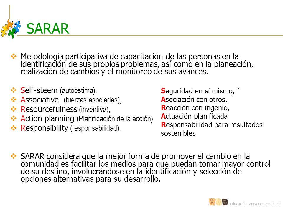 Educación sanitaria intercultural SARAR Metodología participativa de capacitación de las personas en la identificación de sus propios problemas, así como en la planeación, realización de cambios y el monitoreo de sus avances.