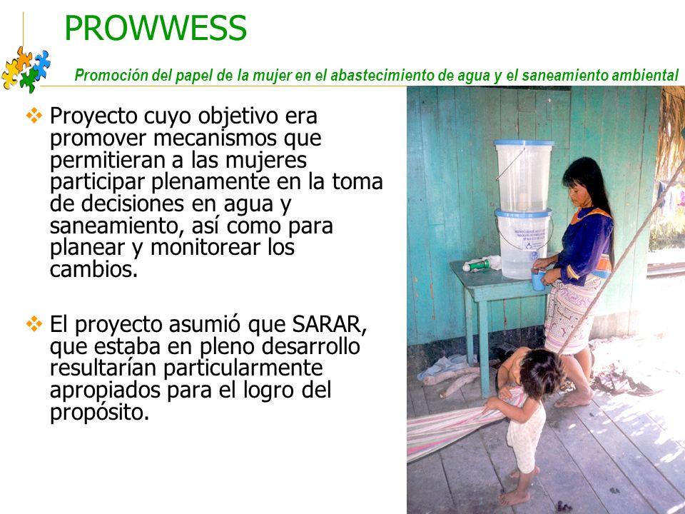 Educación sanitaria intercultural PROWWESS Promoción del papel de la mujer en el abastecimiento de agua y el saneamiento ambiental Proyecto cuyo objetivo era promover mecanismos que permitieran a las mujeres participar plenamente en la toma de decisiones en agua y saneamiento, así como para planear y monitorear los cambios.
