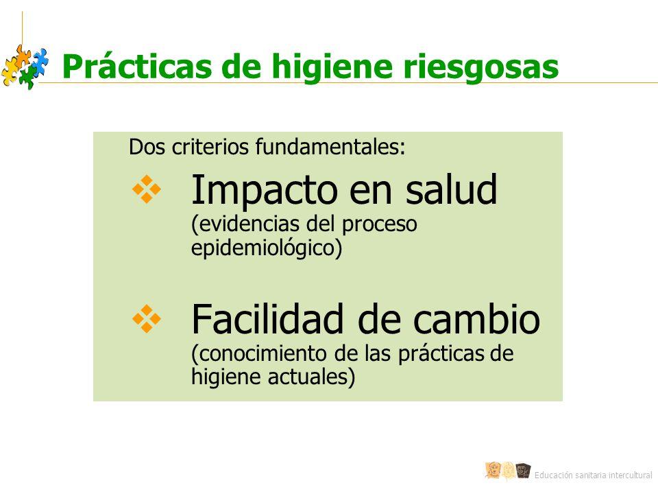 Educación sanitaria intercultural Prácticas de higiene riesgosas Dos criterios fundamentales: Impacto en salud (evidencias del proceso epidemiológico) Facilidad de cambio (conocimiento de las prácticas de higiene actuales)
