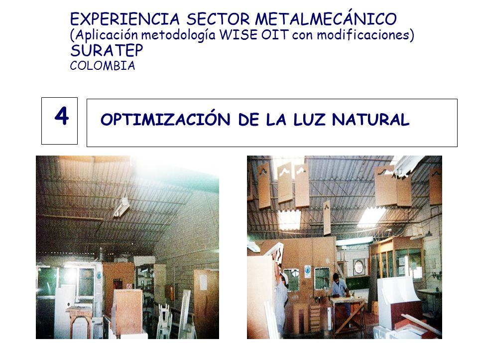 OPTIMIZACIÓN DE LA LUZ NATURAL 4 EXPERIENCIA SECTOR METALMECÁNICO (Aplicación metodología WISE OIT con modificaciones) SURATEP COLOMBIA