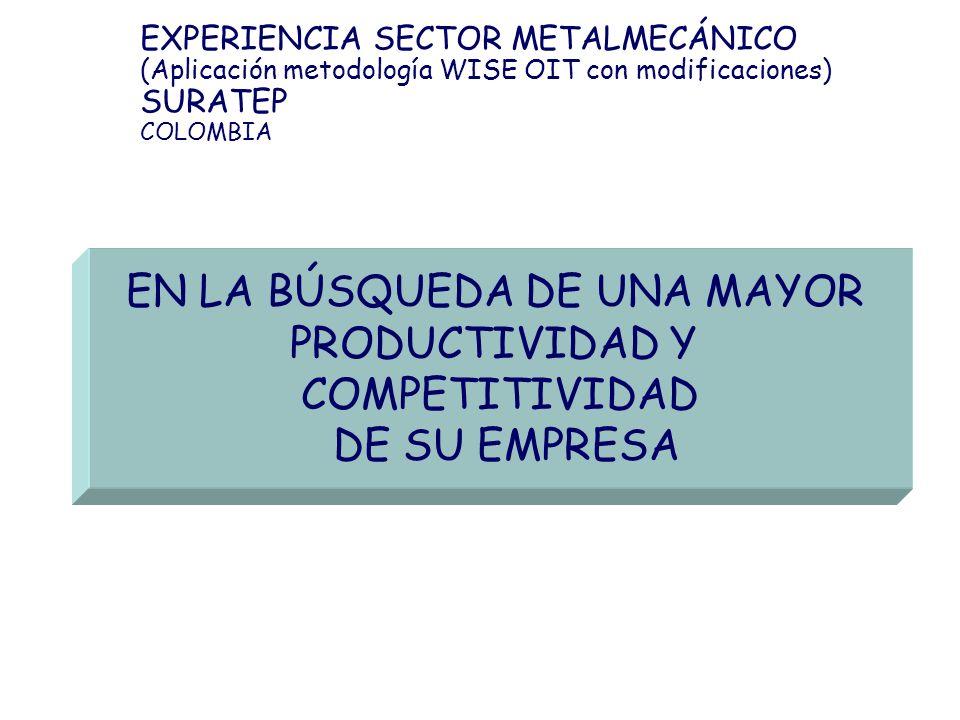 EXPERIENCIA SECTOR METALMECÁNICO (Aplicación metodología WISE OIT con modificaciones) SURATEP COLOMBIA EN LA BÚSQUEDA DE UNA MAYOR PRODUCTIVIDAD Y COM