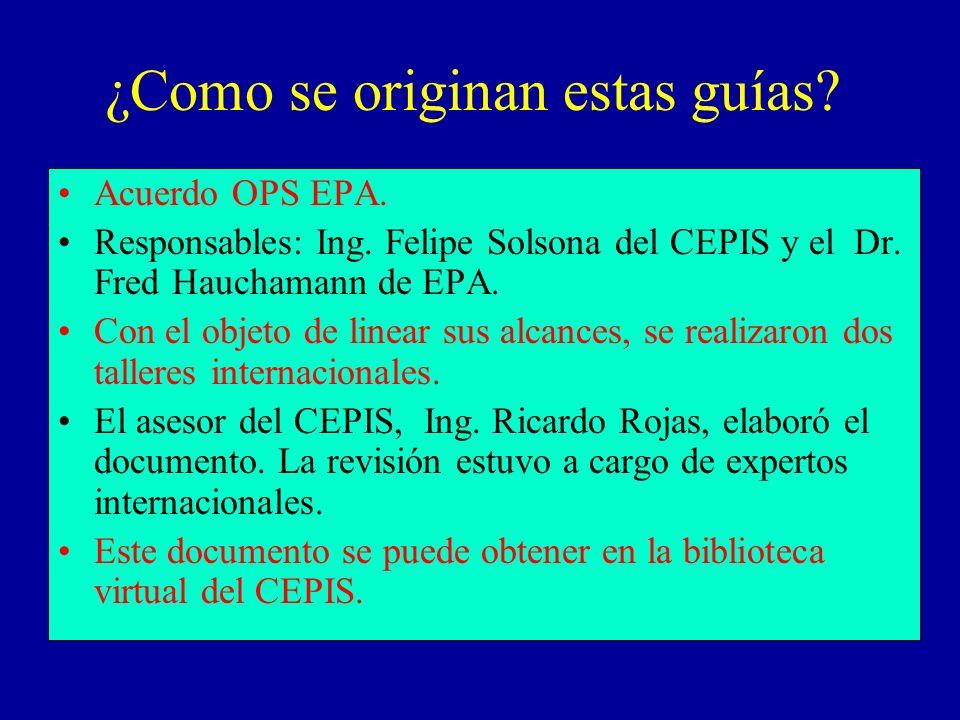 ¿Como se originan estas guías? Acuerdo OPS EPA. Responsables: Ing. Felipe Solsona del CEPIS y el Dr. Fred Hauchamann de EPA. Con el objeto de linear s