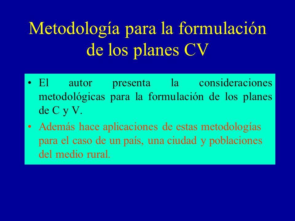Metodología para la formulación de los planes CV El autor presenta la consideraciones metodológicas para la formulación de los planes de C y V. Además