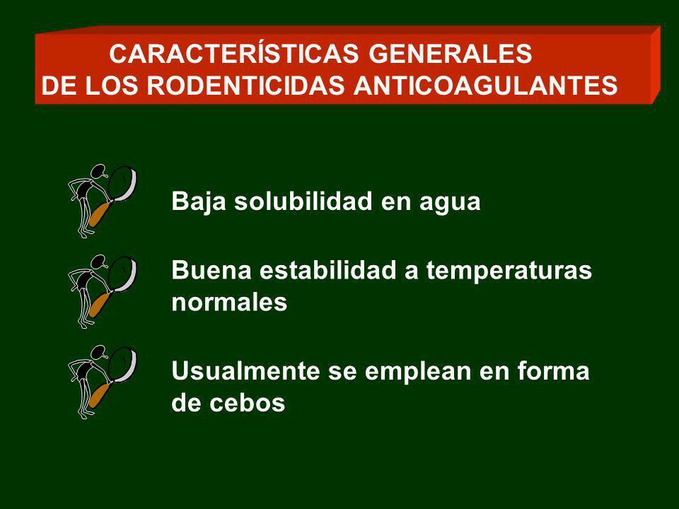 Baja solubilidad en agua Buena estabilidad a temperaturas normales Usualmente se emplean en forma de cebos CARACTERÍSTICAS GENERALES DE LOS RODENTICID