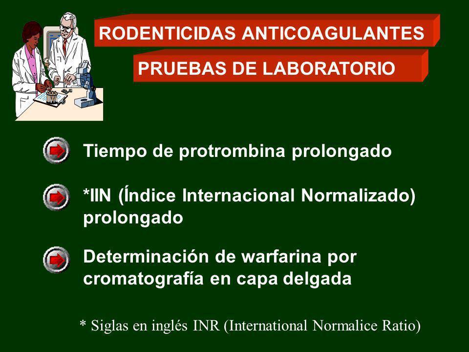 *IIN (Índice Internacional Normalizado) prolongado Determinación de warfarina por cromatografía en capa delgada Tiempo de protrombina prolongado * Sig