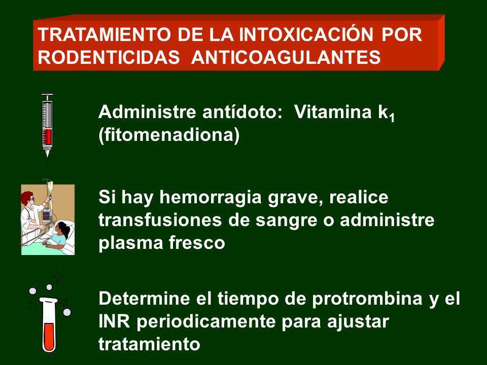 Administre antídoto: Vitamina k 1 (fitomenadiona) Si hay hemorragia grave, realice transfusiones de sangre o administre plasma fresco Determine el tie