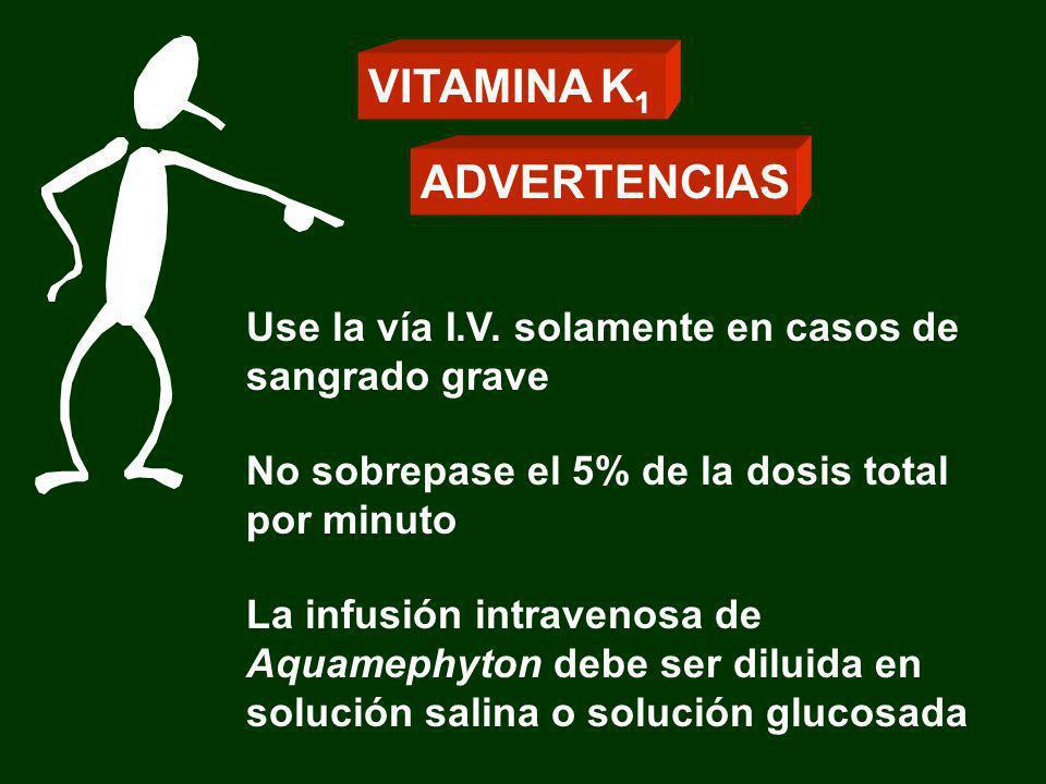 Use la vía I.V. solamente en casos de sangrado grave No sobrepase el 5% de la dosis total por minuto La infusión intravenosa de Aquamephyton debe ser