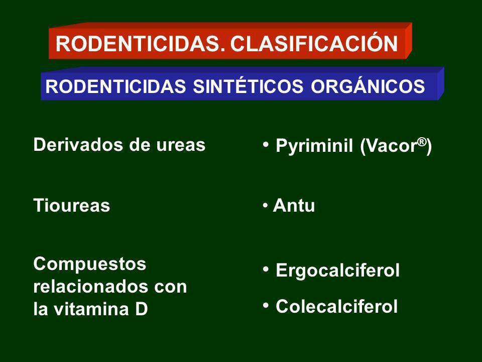 Derivados de ureas Pyriminil (Vacor ® ) Tioureas Antu RODENTICIDAS. CLASIFICACIÓN RODENTICIDAS SINTÉTICOS ORGÁNICOS Compuestos relacionados con la vit