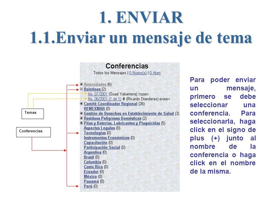 1. ENVIAR 1.1.Enviar un mensaje de tema Conferencias Temas Para poder enviar un mensaje, primero se debe seleccionar una conferencia. Para seleccionar