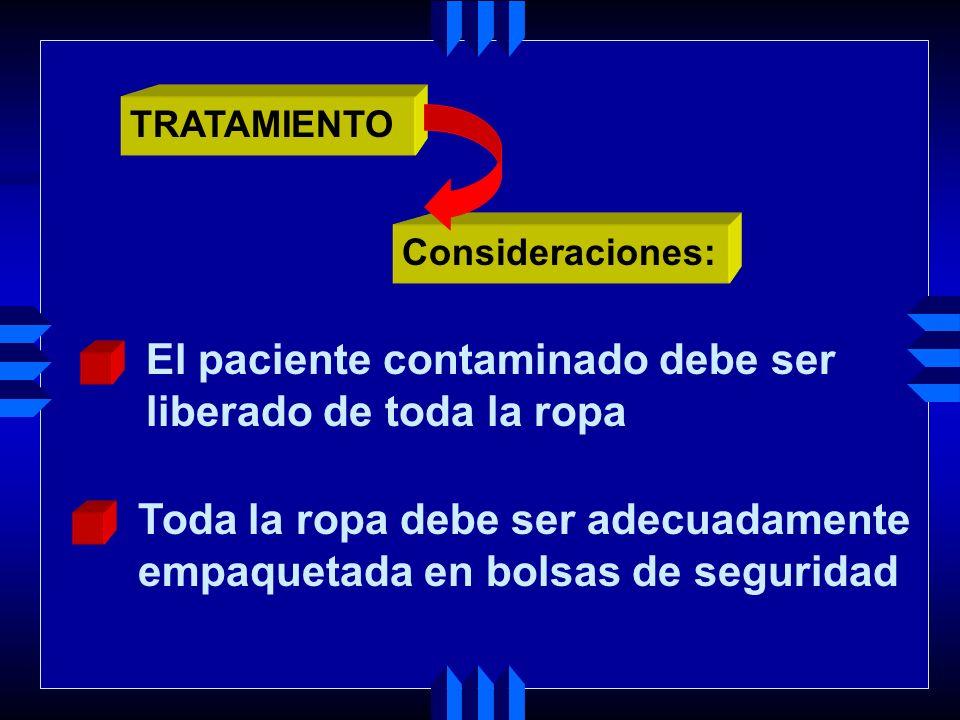 Eliminar la sustancia tóxica en la vía de entrada y disminuir la absorción (procedimiento de descontaminación). TRATAMIENTO Principios básicos del tra