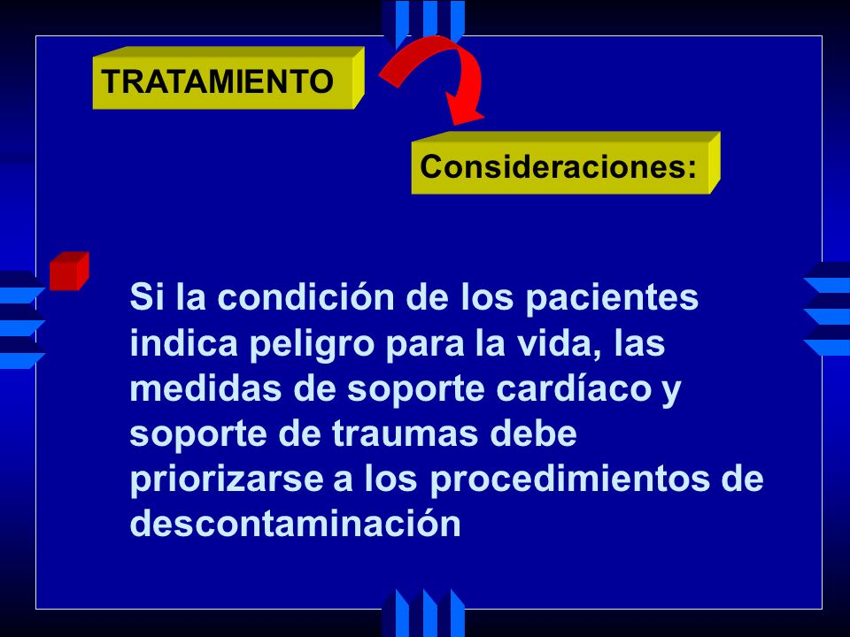 El paciente contaminado debe ser liberado de toda la ropa Toda la ropa debe ser adecuadamente empaquetada en bolsas de seguridad Consideraciones: TRATAMIENTO