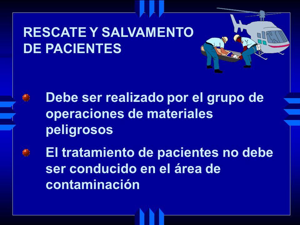 Debe ser realizado por el grupo de operaciones de materiales peligrosos El tratamiento de pacientes no debe ser conducido en el área de contaminación RESCATE Y SALVAMENTO DE PACIENTES
